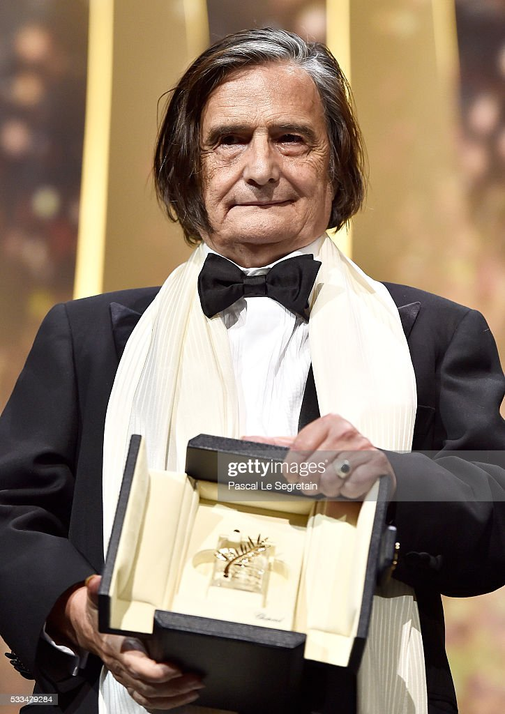 French actor JeanPierre Leaud poses with the honourary Palme d'Or award during the Closing Ceremony at the annual 69th Cannes Film Festival at Palais...