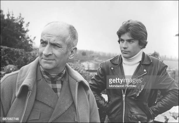 French actor Louis de FunŠs with his son Olivier on a terrace during a break on the set of L'homme orchestre Bassano Romano 25th March 1970
