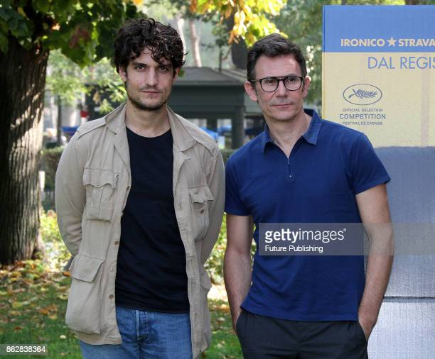 French actor Louis Garrel and French director Michel Hazanavicius attend a photocall for 'Redoubtable ' on October 18 2017 in Rome Italy Marco...