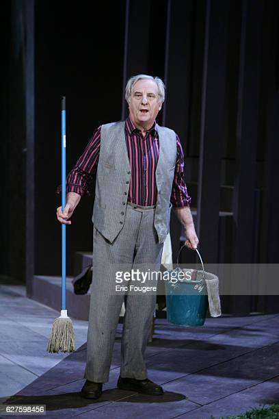 French actor Michel Aumont performs during the spinning of Yves Ravey's play 'Dieu est un Steward de Bonne Composition' at the Rond Point theatre in...