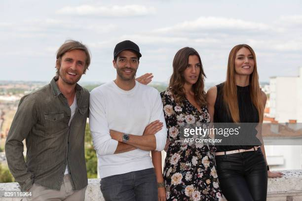 French actor Philippe Lacheau French director Tarek Boudali Swiss actress Charlotte Gabris and French actress Nadege dabrowski pose during a...