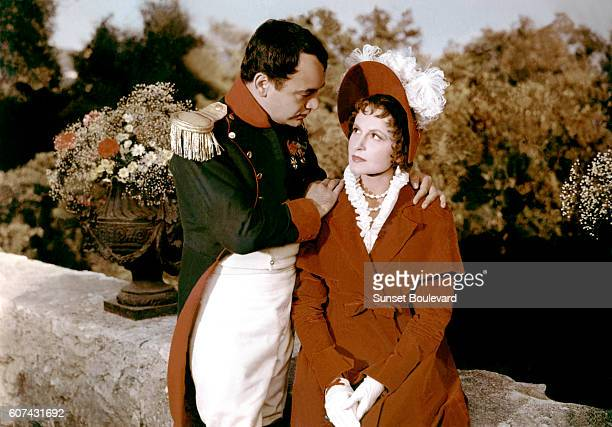 French actor Raymond Pellegrin and Romanian actress Lana Marconi on the set of Napoleon written and directed by Sacha Guitry