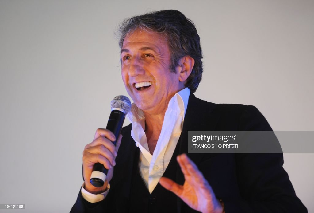 French actor Richard Anconina addresses as President of the Jury for fictions during Valenciennes Film Festival on March 20, 2013 in Valenciennes, northern France. Valenciennes Film Festival runs from March 18 to 24. AFP PHOTO FRANCOIS LO PRESTI