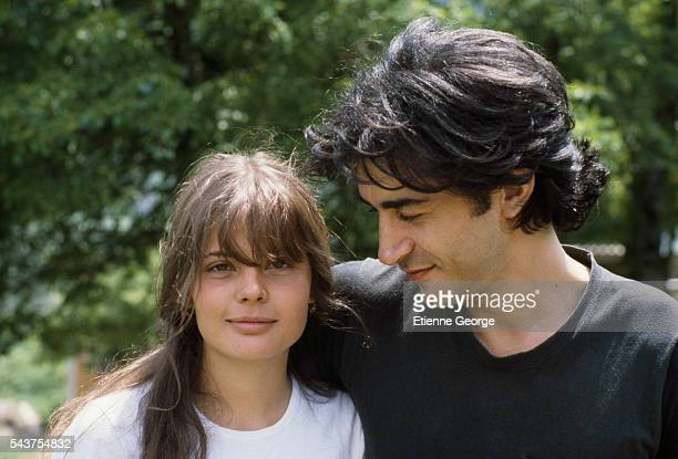 French actor Richard Berry and French actress Marie Trintignant on the set of the film 'Premier Voyage' directed by her mother French director Nadine...