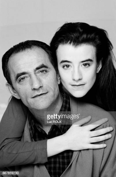 French actor Richard Bohringer posing with his daughter actress Romane Bohringer