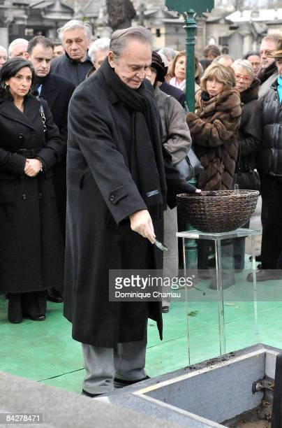 French Actor Roger Hanin attends publicist Georges Cravenne's Funeral at Montparnasse Cemetery on January 14 2009 in Paris France
