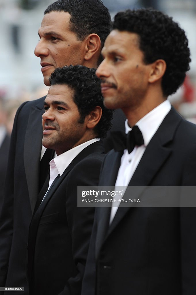 French actor Roschdy Zem, French actor Jamel Debbouze and French actor Sami Bouajila arrive for the screening of 'Hors La Loi' (Outside of the Law) presented in competition at the 63rd Cannes Film Festival on May 21, 2010 in Cannes.