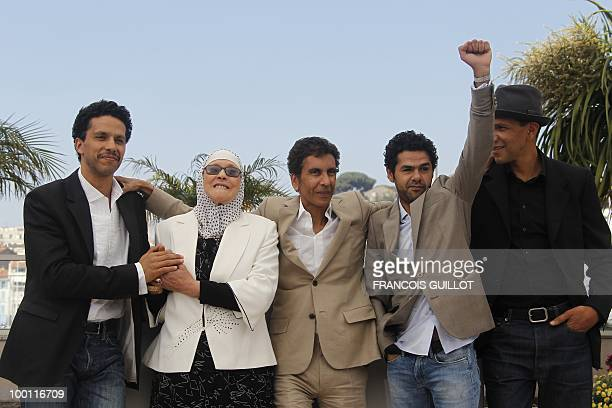French actor Sami Bouajila actress Chafia Boudraa French director Rachid Bouchareb French actor Jamel Debbouze and French actor Roschdy Zem pose...