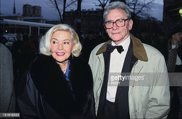 French actor screenwriter and film director Robert Lamoureux with his wife at the Moliere Award in 1993 in France