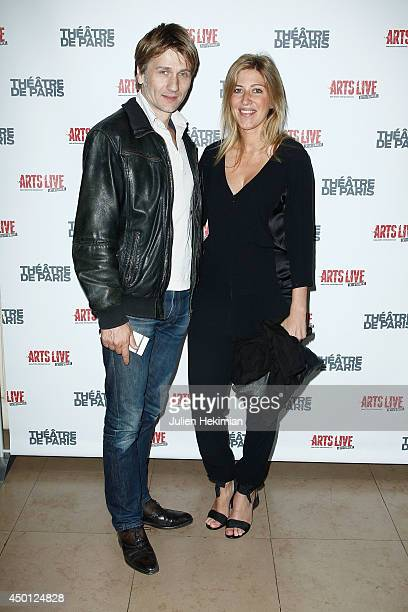 French actor Stanislas Merhar and french writer Amanda Sthers attend 'Le Mur' Theater Play Premiere on June 5 2014 in Paris France