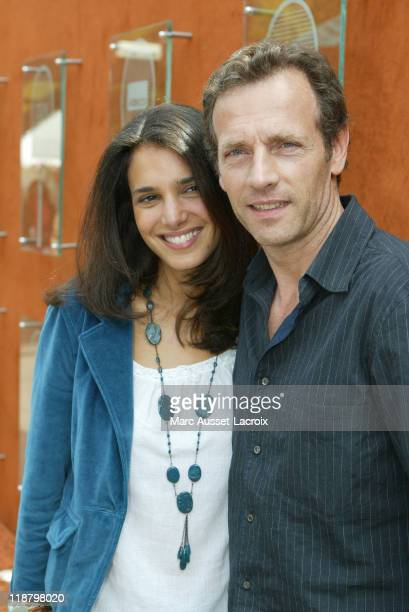 French Actor Stephane Freiss and his Wife Ursula poses at the 'Village' during the 8th day of French Open Tennis tournament held at Roland Garros...