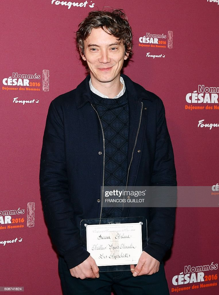 French actor Swann Arlaud, nominated as Best Male Newcomer, poses during the nominations event for the 2016 César film awards, on February 6, 2016 in Paris. The 41st Ceremony for the Cesar film award, considered as the highest film honour in France, will take place on February 26, 2016. / AFP / FRANCOIS GUILLOT