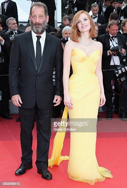 French actor Vincent Lindon and actress Jessica Chastain attend the 'Cafe Society' premiere and the Opening Night Gala during the 69th annual Cannes...