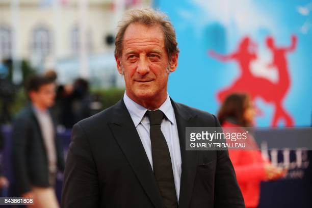 French actor Vincent Lindon poses as she arrives for the screening of the movie 'Zookepper's wife' on September 7 2017 during the 43rd Deauville US...