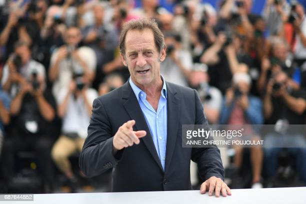 TOPSHOT French actor Vincent Lindon poses on May 24 2017 during a photocall for the film 'Rodin' at the 70th edition of the Cannes Film Festival in...