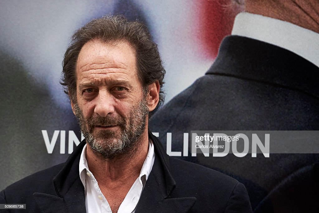 French Actor <a gi-track='captionPersonalityLinkClicked' href=/galleries/search?phrase=Vincent+Lindon&family=editorial&specificpeople=626589 ng-click='$event.stopPropagation()'>Vincent Lindon</a> presents 'La Loi Du Marche' (The Measure Of A Man) at the Golem cinema on February 11, 2016 in Madrid, Spain.