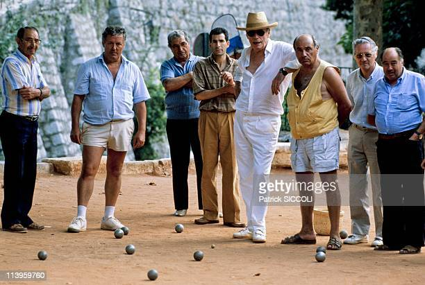French Actor Yves Montand In Saint Paul De Vence France On August 27 1988French actor Yves Montand playing petanque