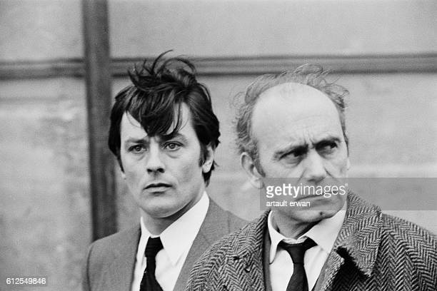 French actors Alain Delon and Paul Crochet on the set of Un Flic written and directed by JeanPierre Melville