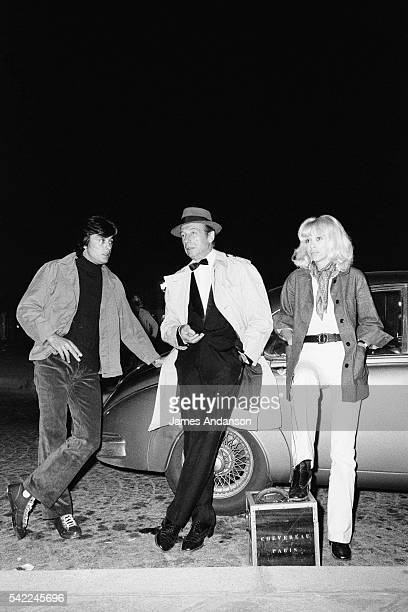 French actors Alain Delon Yves Montand and Mireille Darc on the set of Le Cercle Rouge written and directed by JeanPierre Melville