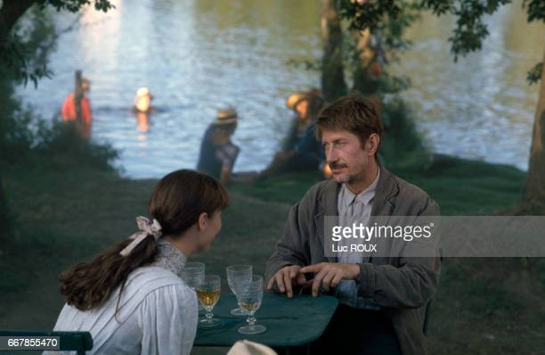 French actors Alexandra London and Jacques Dutronc on the set of the film Van Gogh directed by Maurice Pialat