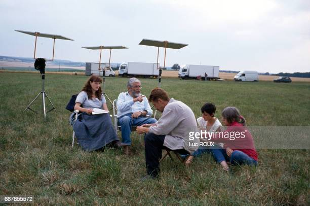 French actors Alexandra London and Jacques Dutronc with French director Maurice Pialat on the set of his film Van Gogh