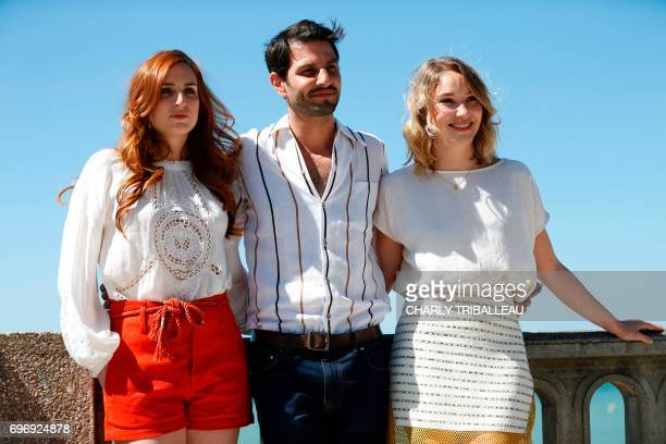 French actors Alison Wheeler Marc Ruchmann and Belgian actress Deborah Francois pose during a photocall for the Cabourg Romantic Film Festival in...