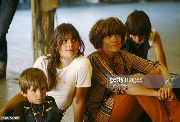 French actors and reallife siblings Marie and Vincent Trintignant on the set of the film 'Premier Voyage' directed by their mother French director...