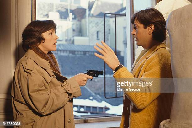 French actors Anny Duperey and Bernard Giraudeau on the set of the film Meurtres a Domicile directed by French director Marc Lobet