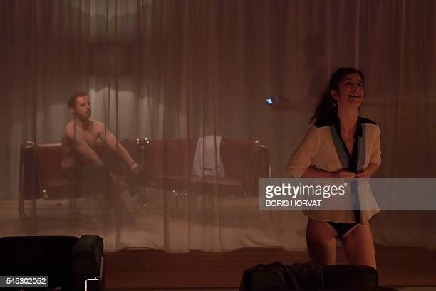 French actors Antoine Ferron and Noemie Gantier from the collective 'Si vous pouviez lecher mon coeur' perform during the rehearsal of '2666'...