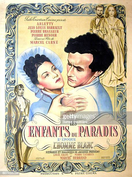 French actors Arletty and JeanLouis Barrault on the movie poster of Les Enfants du Paradis written by Jacques Prévert and directed by Marcel Carné
