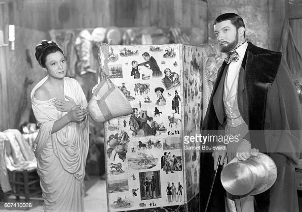 French actors Arletty and Louis Salou on the set of Les Enfants du Paradis written by Jacques Prévert and directed by Marcel Carné