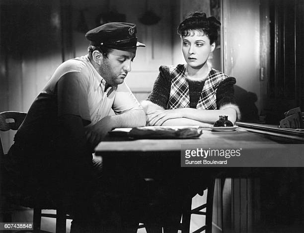 French actors Bernard Blier and Arletty on set of Hotel du Nord based on the novel by Eugene Dabit and directed by Marcel Carné