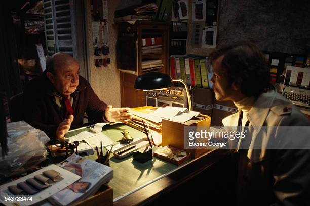 French actors Bernard Blier and Patrick Dewaere on the set of the film Serie Noire directed by Alain Corneau and based on American writer Jim...