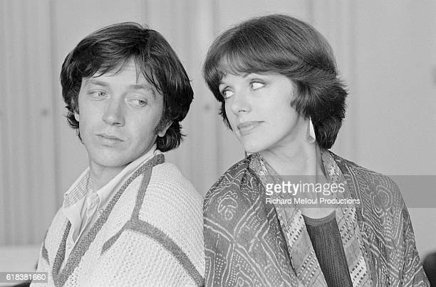 French actors Bernard Giraudeau and Anny Duperey looks at each other over their shoulders Giraudeau and Duperey were in Cannes to attend the 34th...