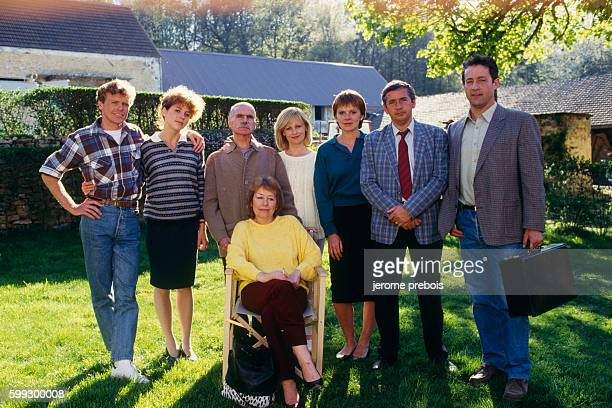 French actors Bertrand Lacy Pascale Rocard Jacques Dufilho Elisa Servier Laure Duthilleul Alain Doutey Gerard Klein and Annie Girardot during the...