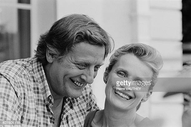 French actors Bruno Cremer and MarieChristine Barrault on the set of Adieu je t'aime written and directed by Claude BernardAubert