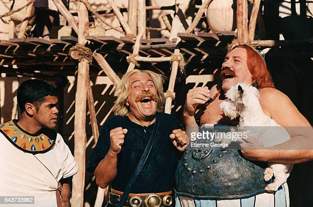 French actors Christian Clavier and Gerard Depardieu on the set of Asterix and Obelix Meet Cleopatra written by Rene Gosciny and Albert Uderzo and...
