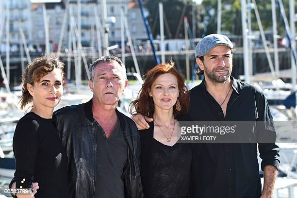 French actors Emmanuelle Bach Bruno Wolkowitch AnneSophie Husson and Gregory Fitoussi pose on the last day of the 16th edition of the Festival of TV...