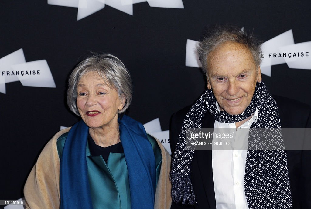 French actors Emmanuelle Riva and Jean-Louis Trintignant pose during a photocall prior to the premiere screening of the movie 'Amour', awarded the 2012 Cannes film festival Palme d'Or, on October 15, 2012 in Paris.