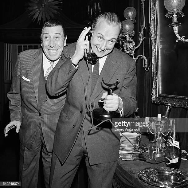 French actors Fernandel and Guy Pierault on set of the comedy TV movie Freddy written by Robert Thomas