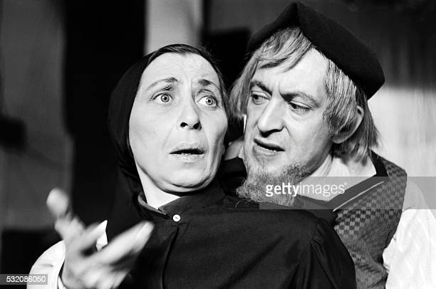 French actors Francois Maistre and Maria Meriko perform during a rehearsal of the play 'Liola' written by Luigi Pirandello and directed by Bernard...