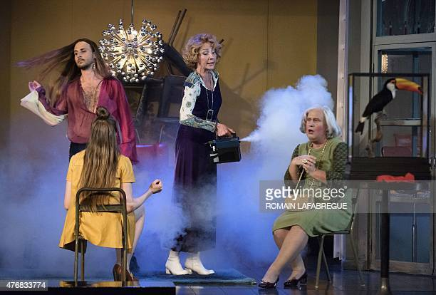 French actors Geoffroy Rondeau as Trissotin Maud Wyler as Armande MarieArmelle Deguy as Philaminte and Thomas Morris as Belise perform on stage...