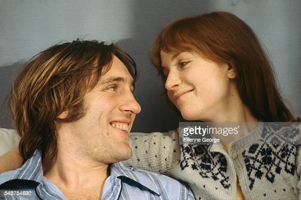 French actors Gerard Depardieu and Isabelle Huppert on the set of Loulou directed by French director Maurice Pialat