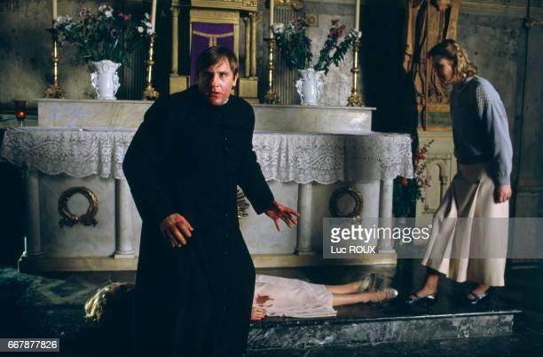 French actors Gerard Depardieu and Sandrine Bonnaire on the set of the film Sous le Soleil de Satan directed by Maurice Pialat The film won the Palme...