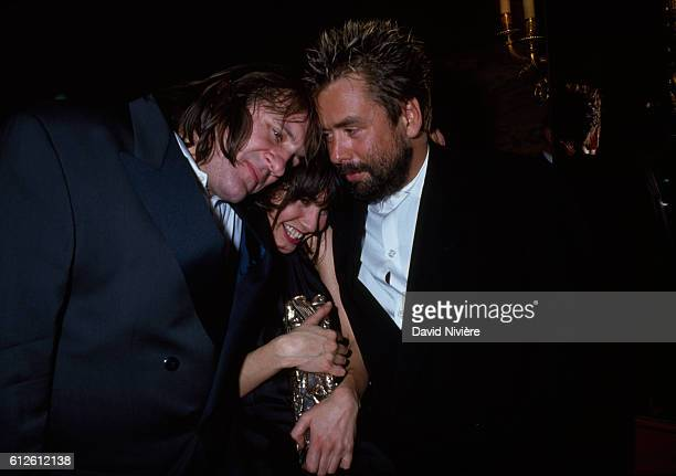 French actors Gérard Depardieu and Anne Parillaud and French director Luc Besson at the César award ceremony Parillaud was awarded the prize for Best...