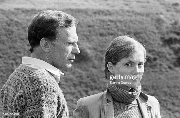 French actors Isabelle Huppert and JeanLouis Trintignant on the set of Eaux Profondes directed by French director Michel Deville and based on the...