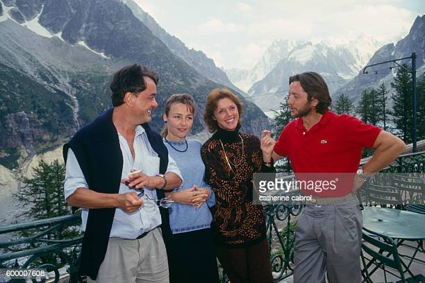 French actors Jacques Denis Catherine Frot and Anny Duperey and French actor and director Bernard Giraudeau on the set of Giraudeau's television...