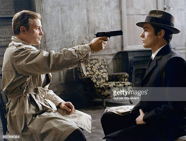 French actors Jacques Leroy and Alain Delon on the set of Le Samourai written and directed by JeanPierre Melville