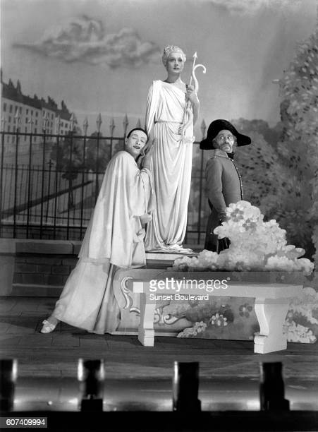 French actors JeanLouis Barrault Arletty and Etienne Decroux on the set of Les Enfants du Paradis written by Jacques Prévert and directed by Marcel...