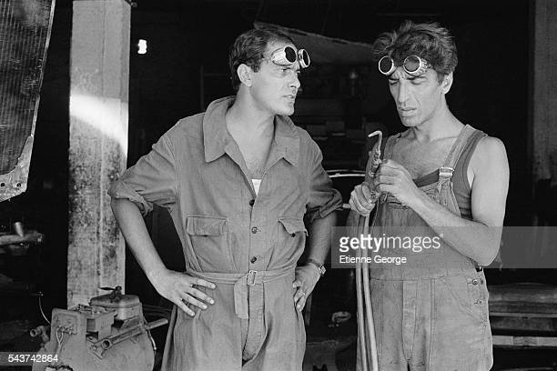 French actors JeanPierre Bacri and Gérard Darmon on the set of the film 'Le Grand carnaval' directed by Alexandre Arcady